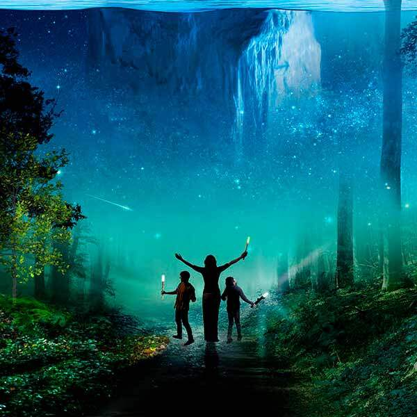 Trois personnes sur un sentier dans une forêt explorent les environs et s'extase devant un iceberg